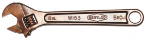 Wrenches made from beryllium-copper alloy are strong, non-sparking, non-magnetic, and corrosion resistant. | Images via Wikimedia Commons